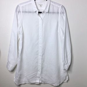 Garnet Hill 100% Linen White Button Down Top